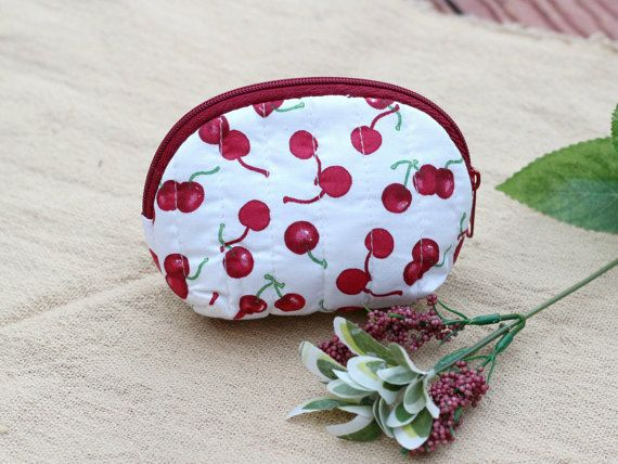 Cotton Coin Purse Red Cherry PatternWomen Zipper by LaLannaThai