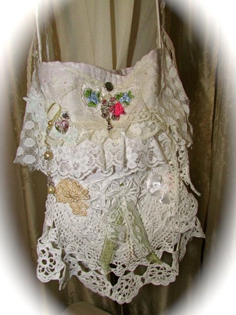 White Lace Purse, SMALL cottage chic, shabby tattered lace bag, beads buttons embellished fabric bag, long strap, white cotton purse