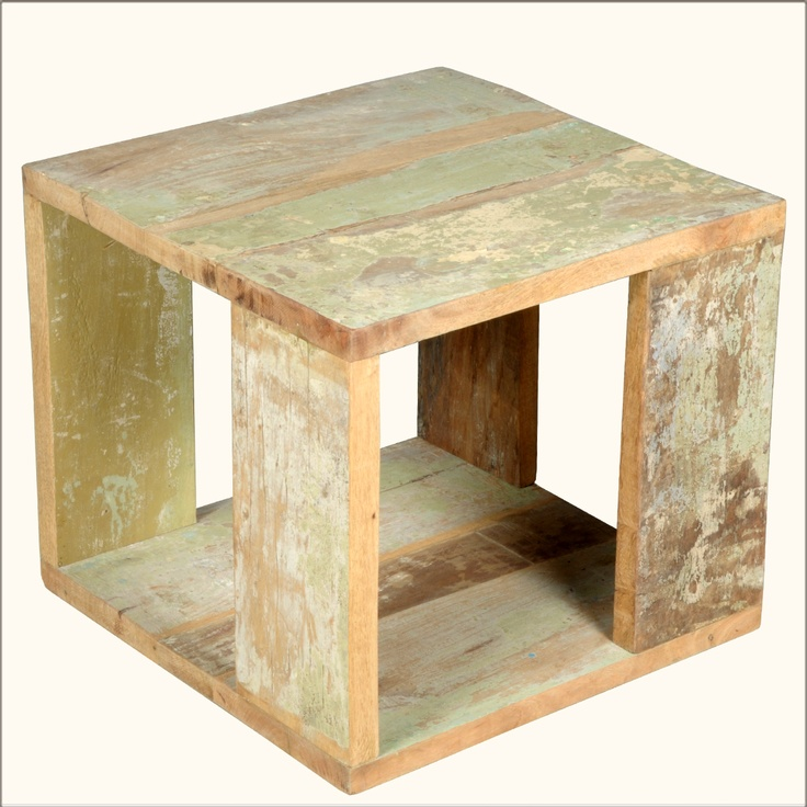 Unique Reclaimed Wood Cube Accent End Table Nightstand Bedside Furniture
