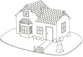 A template/blueprint for making a gingerbread house in the shape of a Victorian house.
