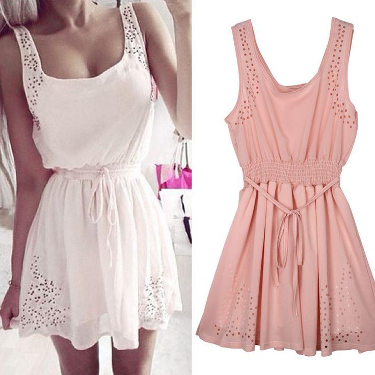New Hot Sexy Women Slim Sleeveless Hollow Casual Summer Dress 2015 Lady White Chiffon Evening Party Mini Dresses Vestidos Gift //   Цена: $ US $7.33 & Бесплатная доставка //    #fashionmartonline #мода #стиль