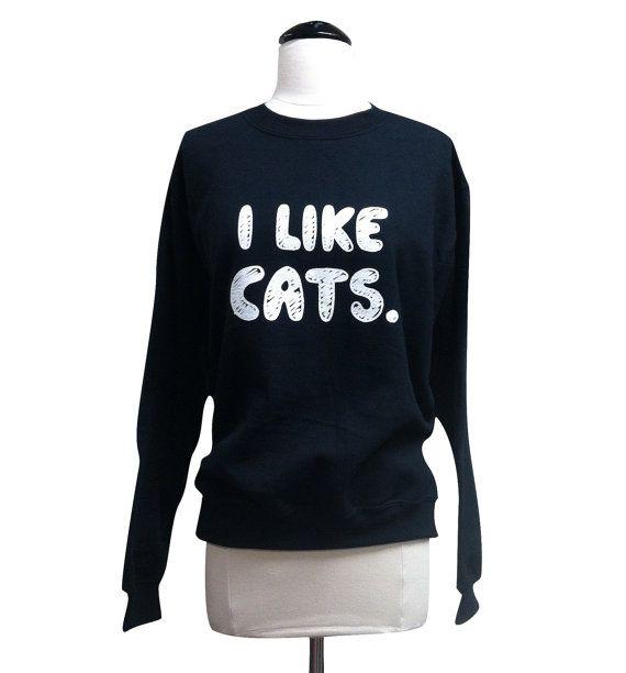 Kat trui ik katten als Print op Crewneck van theboldbanana op Etsy