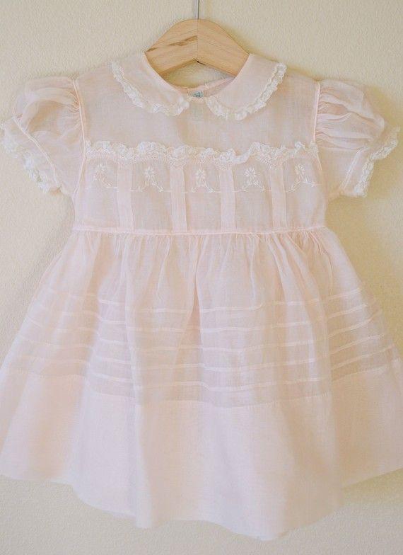 Vintage Baby 1950's Pale PINK Sheer Dress,Tiny Tots Original (12m).