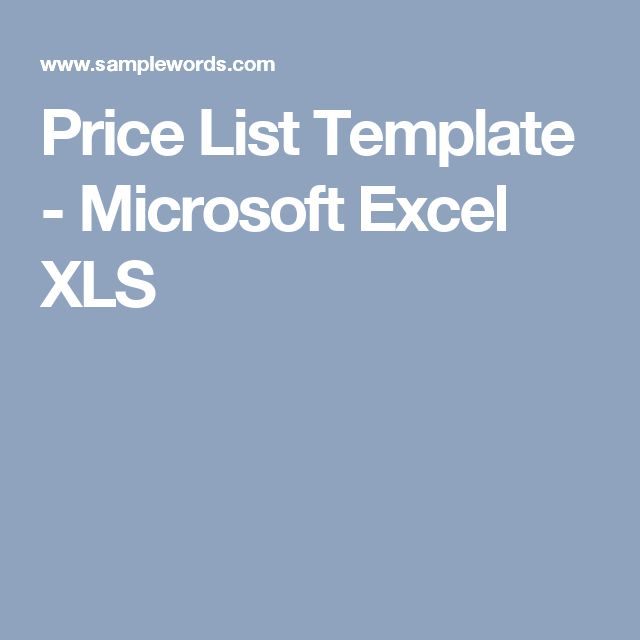 Price List Template - Microsoft Excel XLS