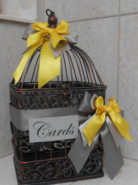 Birdcage Wedding Card Holder / Card Box / Canary Yellow and Grey Wedding
