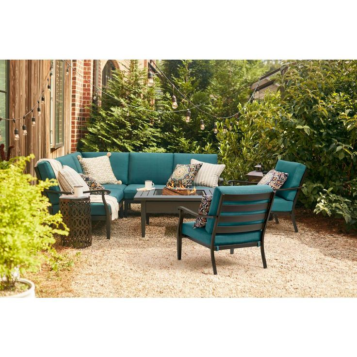 Hampton Bay Riley 3 Piece Metal Outdoor Sectional Set With