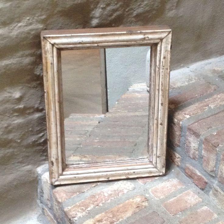 Oud houten spiegel spiegeltje brocant vintage landelijk for Houten spiegel
