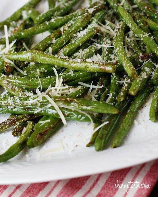 Roasted green beans with olive oil and fresh parmesan. My Review: served these with sausage and potato casserole and they were wonderful! Because I was baking a casserole at 350 degrees, did not cook at 425 for 15 min, but rather, cooked for 30 mins at 350. Turned out perfect!