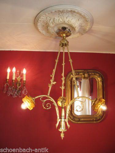 Details Zu Jugendstil Lampe Deckenkrone Um 1900 Bronze Vergoldet Jugendstillampe