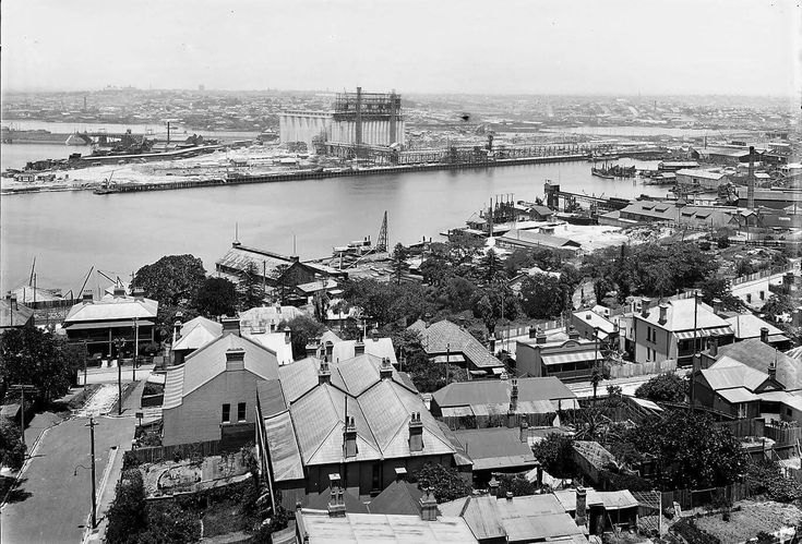Glebe Island Wheat Silos in 1920. •State Library of NSW•