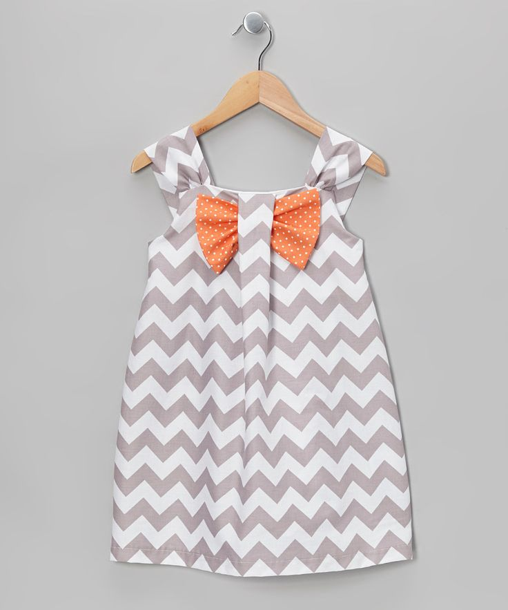 Take a look at this Gray & Apricot Zigzag Bow Dress - Toddler & Girls on zulily today!