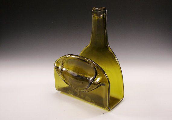 Geschmolzene Weinflasche Serviettenhalter von GoGreenGlassGifts