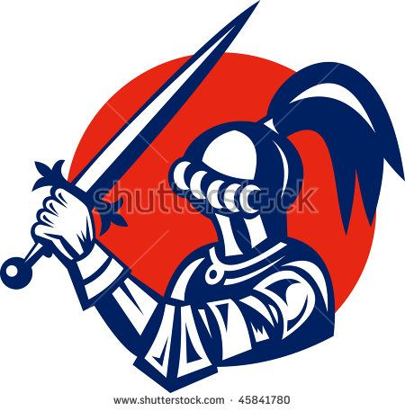 vector illustration of a Knight brandishing a sword viewed from side  #knight #retro #illustration