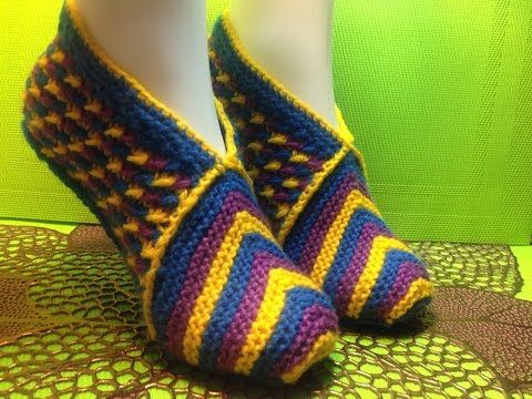 Вязание спицами домашние тапочки phentex slippers #90 - YouTube