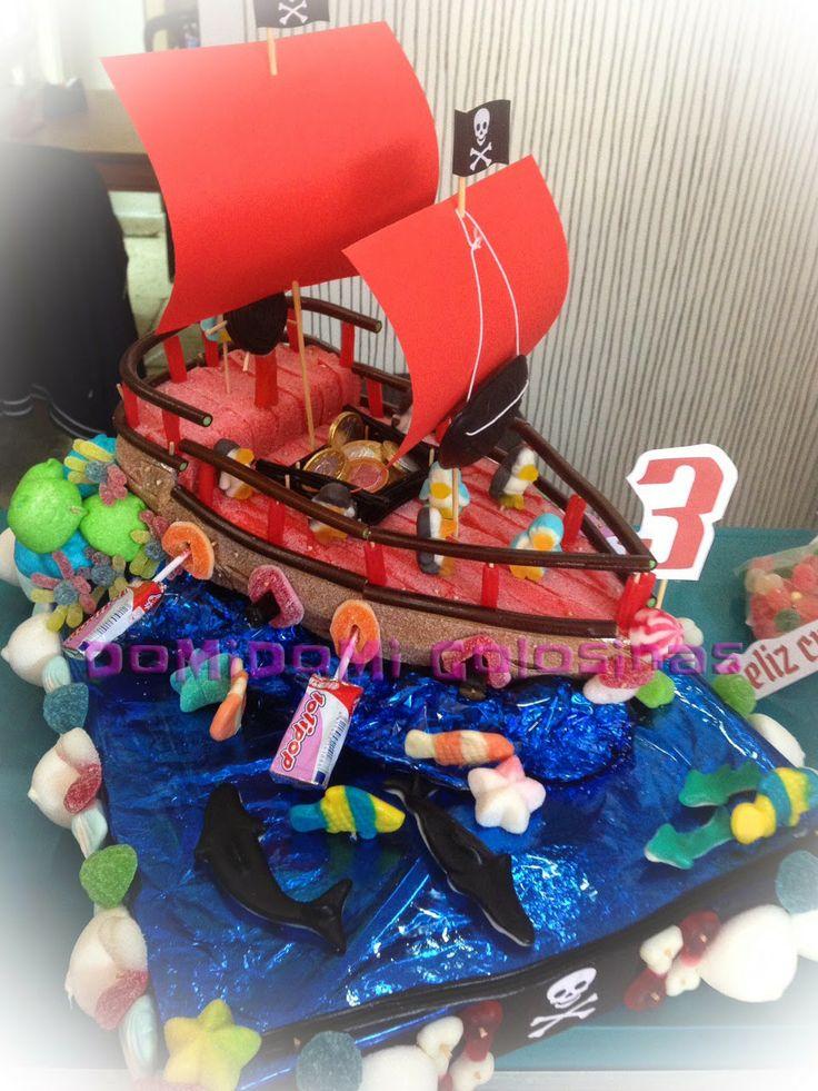 domidomi golosinas tarta de chuches barco pirata