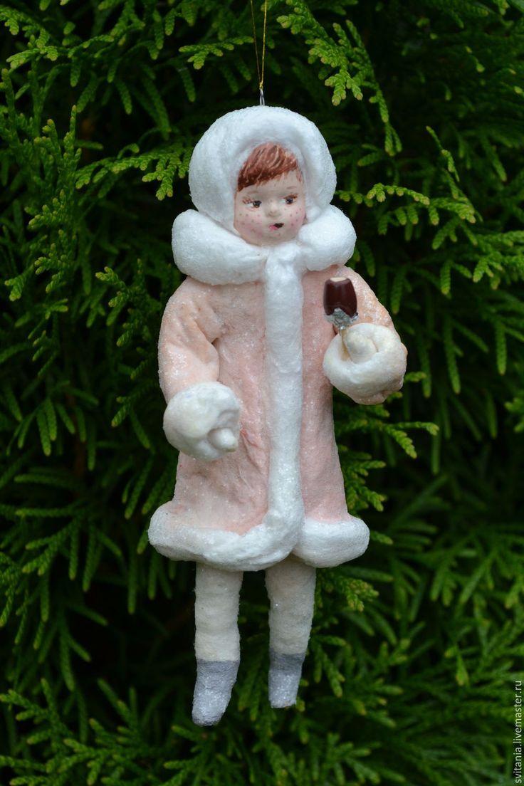 Купить Ватная елочная игрушка Девочка и эскимо - ватная игрушка, ватное…