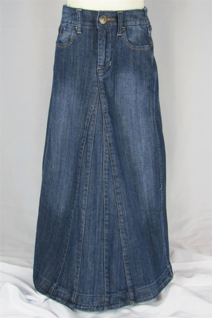 Aviv Girls Long Denim Jean Skirt *SKIRTS ARE NEW STOCK AND ARE SLIGHTLY DARKER IN COLOR THAN THE PICTURE YOU SEE. THE FRONT BUTTON IS NAVY AND NOT SILVER. THE BACK PICTURE OF THIS SKIRT IS THE ACCURATE COLOR OF THE NEW SKIRTS. THESE ARE BEAUTIFUL SKIRTS!*