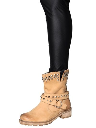 Chiara Ferragni #Boots BOTAS DE MOTOCICLISTA DE PIEL CON TACHUELAS 30MM