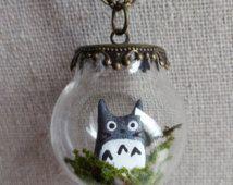 Totoro Terrarium ketting, miniatuur Totoro Forest geest in een mooie glazen Globe tegenhanger, hypoallergene keten, miniatuur Terrarium sieraden