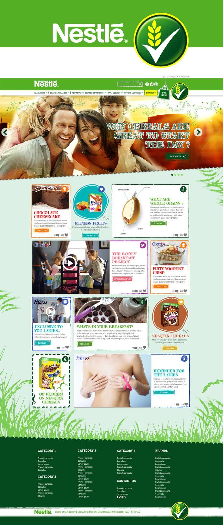 NESTLE  Health and Nutrition  Création du site corporate mais pour le grand public. Rassurer le consommateur sur les produits Nestlé Céréale au niveau nutritif et santé Client : Nestlé Agence : MACCANN
