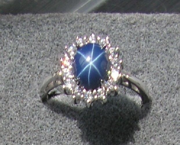VINTAGE LINDE LINDY CRNFLWER BLUE STAR SAPPHIRE CREATED HALO RING RD PLT .925 SS #LINDE #HALO