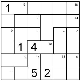 (3.lk -->) Kenken-1-4 - Sijoita numerot 1-6 Kenken ruudukkoon siten, että ne esiintyvät yhden kerran jokaisella pysty- ja vaakarivillä.