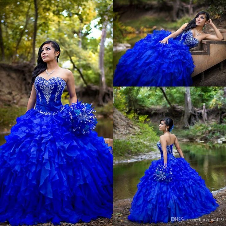 2016 Vintage Royal Blue Quinceanera Ball Gown Dresses Embroidery Beaded Organza Long Ruffles Tiered Sweet 16…