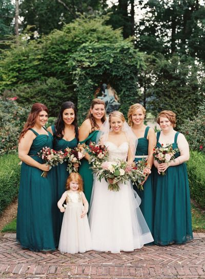 Emerald dresses: http://www.stylemepretty.com/2015/02/09/historic-new-york-mansion-wedding/ | Photography: Brett Heidebrecht - http://brettheidebrecht.com/