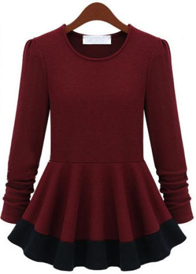 Red Long Sleeve Slim Ruffle Dress pictures