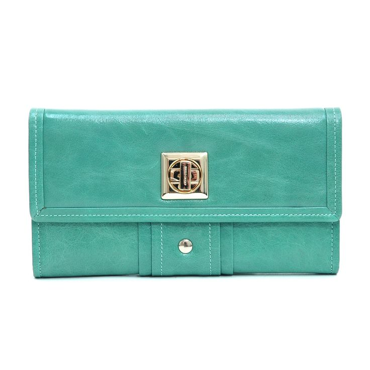 Women's Genuine Italian Leather Gold-Studded Checkbook Wallet – Sea Green Color: Sea Green – ResellerHub.store