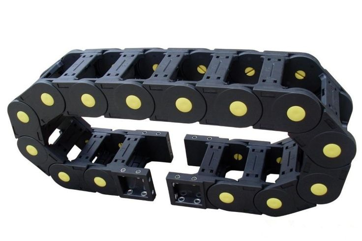 25 x 57mm Cable drag chain wire carrier drag link with end connectors plastic towline for CNC Router Machine Tools 1000mm