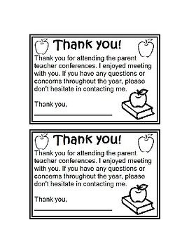 Parent Teacher Conference Reminder Thank You Note Freebie