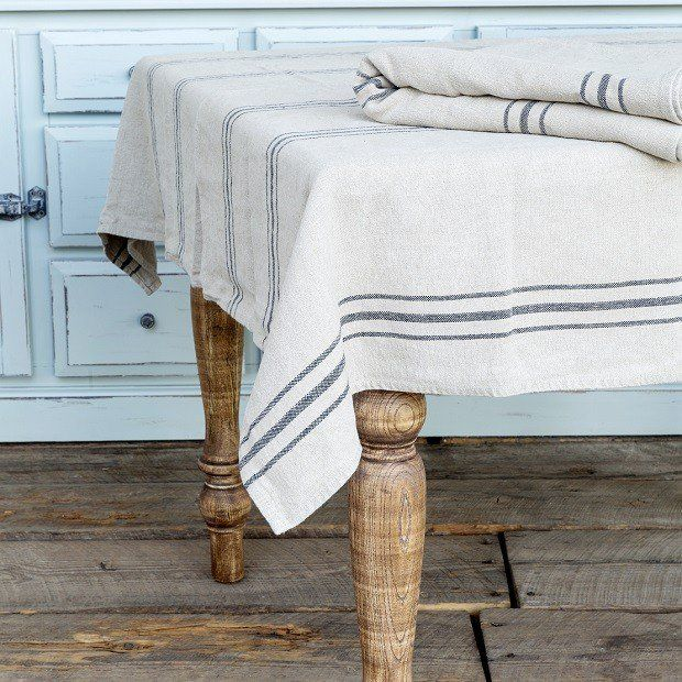 French Stripe Tablecloth and 4 Napkins