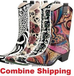 Fashion Women Mid Calf Rubber Cowboy Rain Boot Shoes | eBay