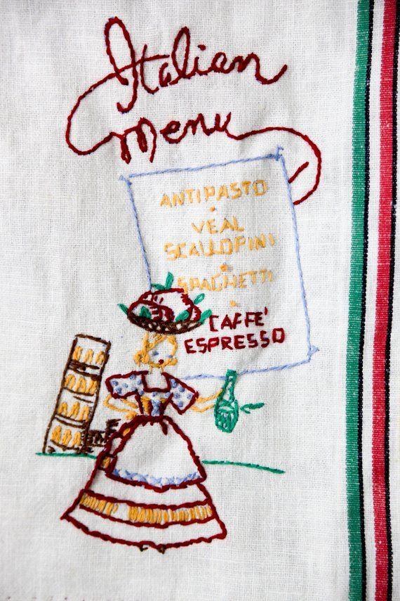 Tea Towel Italian Menu Italy Rainbow Colorful Etsy Vintage Italy Vintage Holiday Tea Towels Italian Menu