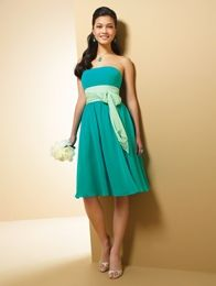 Style 7017S Chiffon,  Optional Spaghetti Straps,  Cocktail Length Featured Colour: Jade/Pistachio Colours: Dress & Trim Each Available in all Dream in Colour shades  Sizes: 0 to 18, 16W to 30W  Also available in floor length as style 7017.