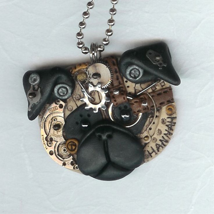 Reserved for pixiee  Steampunk Chinese Pug Dog Necklace Polymer Clay Jewelry.