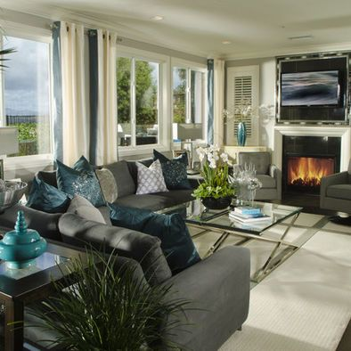 Turquise on charcoal grey sofa design pictures remodel for Grey and turquoise living room ideas
