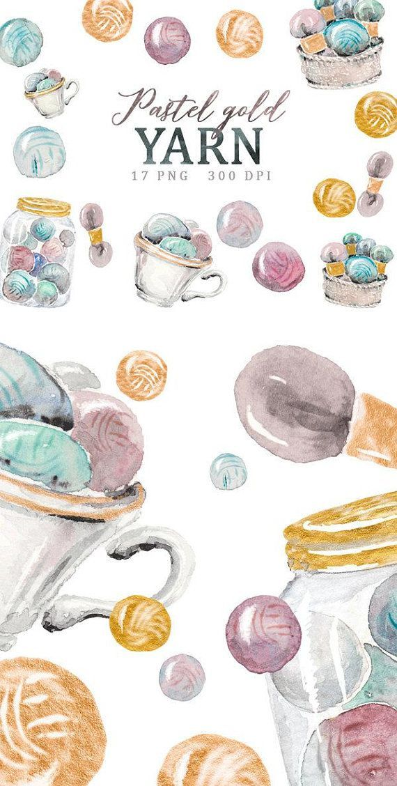 Crochet Clipart Png Hand Painted Watercolor Clip Art With Etsy Yarn Watercolor Clipart Yarn Ball