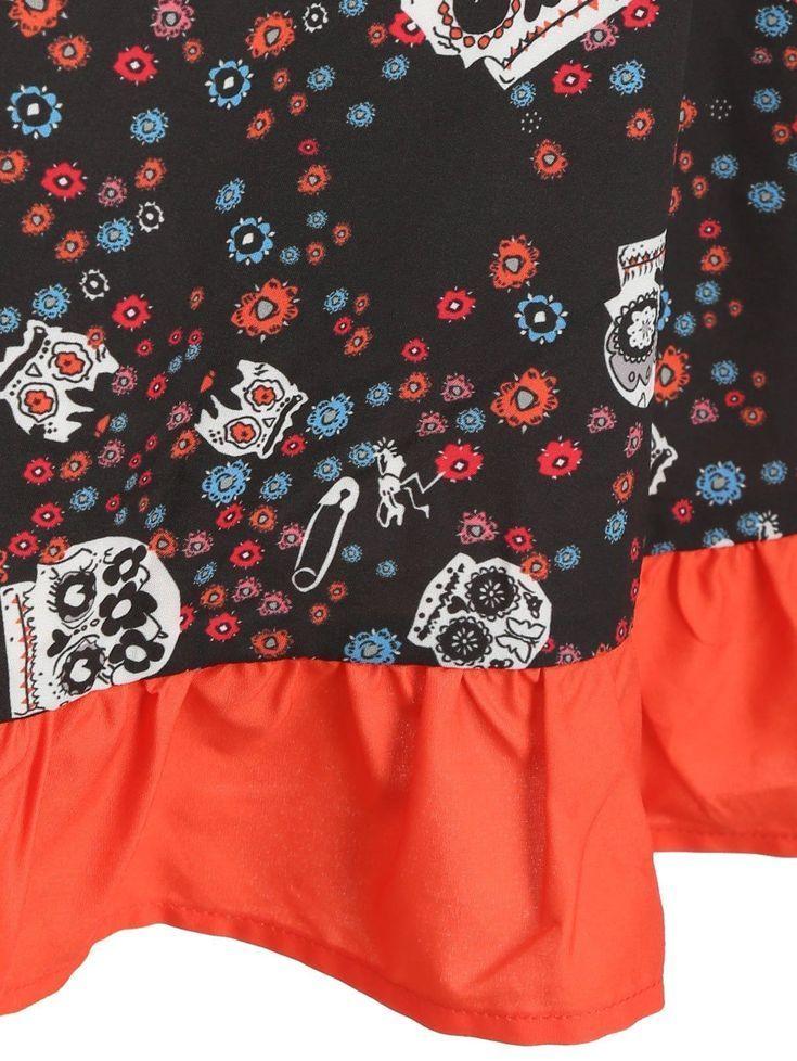 Plus Size Halloween Skulls Print Volant Kleid #Ad #AFF #Skulls #Halloween   – Marlon Horatio
