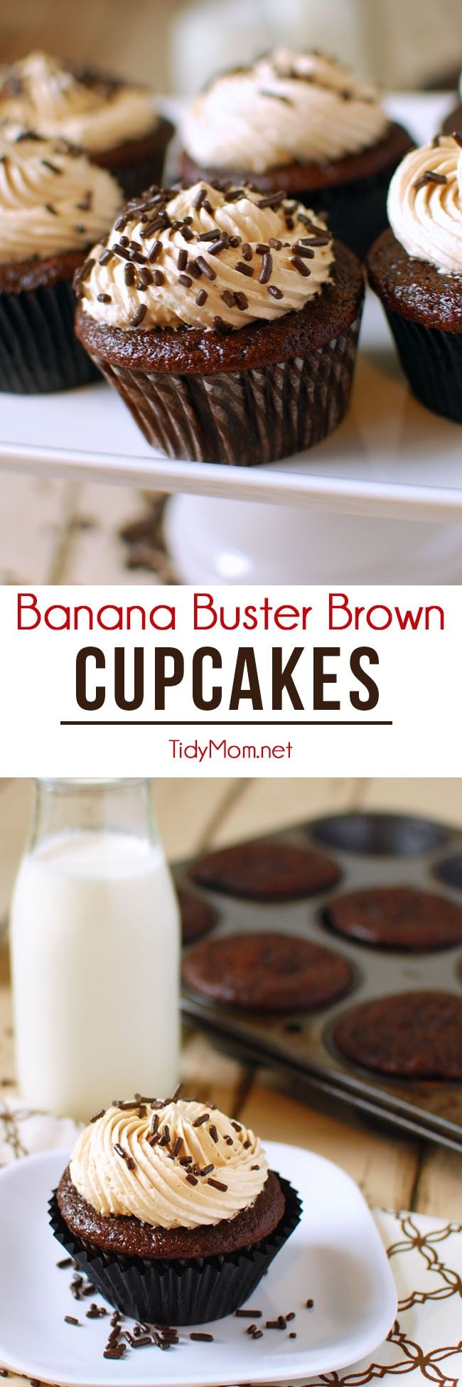 Ripe bananas and chocolate make a moist delicious cupcake, topped with peanut butter brown sugar buttercream for Banana Buster Brown Cupcakes. Recipe at TidyMom.net