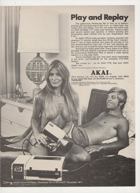 "Akai portable VTR -- Play and Replay ad. The copy reads: The glamorous Penthouse Pet in this ad is demonstrating just one great way to get it on - on video tape - for instant play and replay. You too can make the scene with an AKAI portable 1/4"" video tape recorder. Model: Lynn Partington, Penthouse Pet of the Month, December 1971."