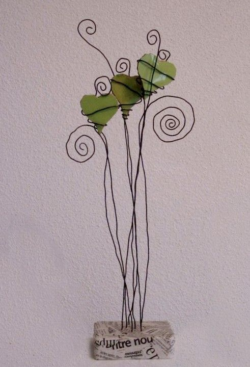 I love #leafhearts and with all the elements of the arts and...#upcycling!  ***stars :)).  jeanmichhe blog: Music, mosaics & wire, three green hearts suspended - tiles, wire, plaster and newsprint.  http://www.GoodOldDaysFlorist.com