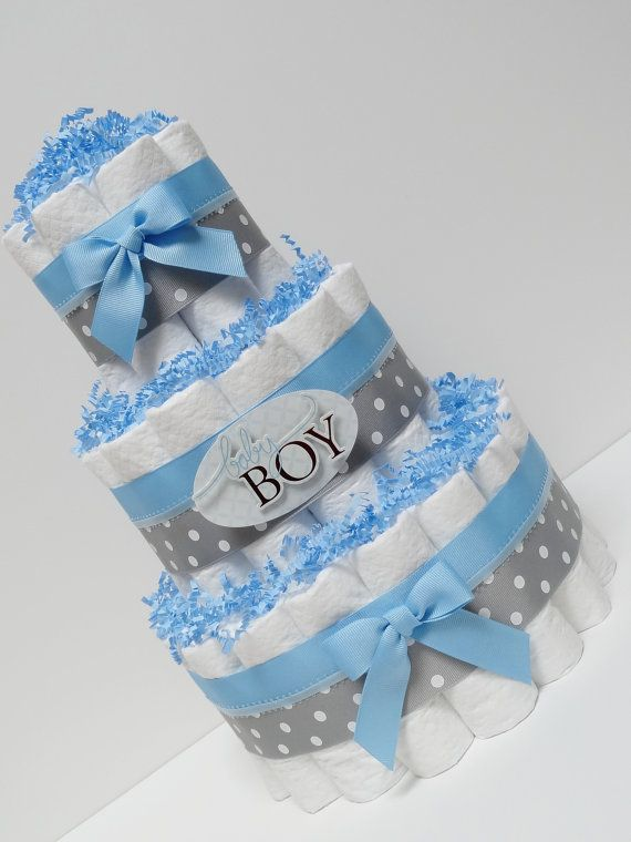 Baby Boy Blue And Gray Diaper Cake Baby Shower Centerpiece
