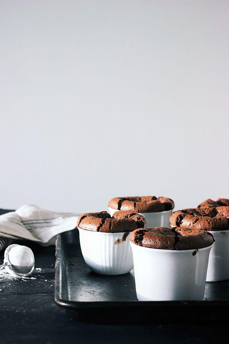 Flourless Dark Chocolate Souffle with Earl Grey Cream via The Artful Desperado