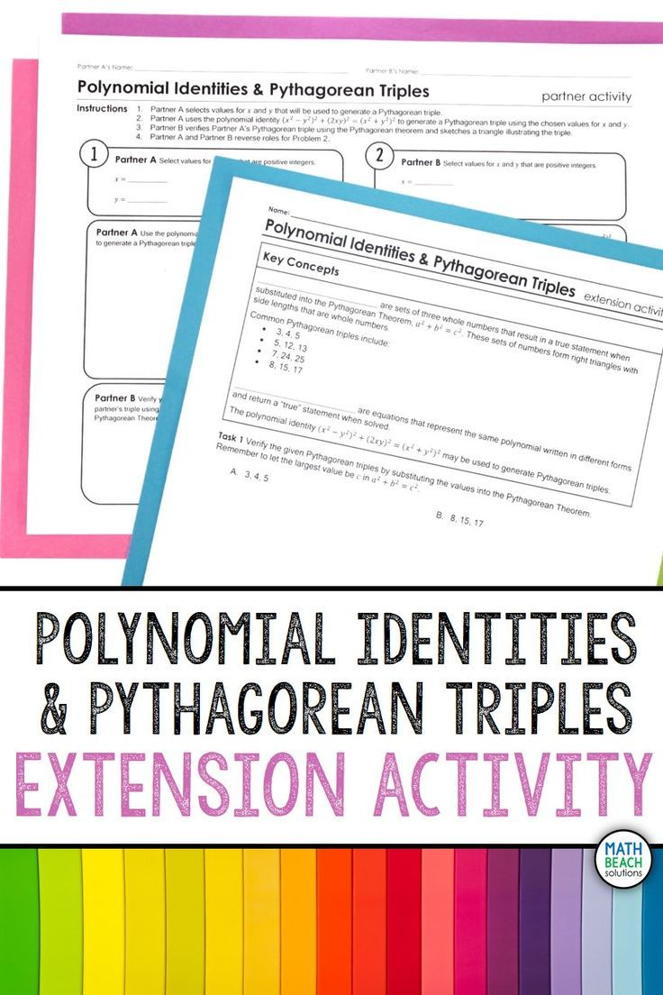 small resolution of Polynomial Identities and Pythagorean Triples Activity   Polynomials