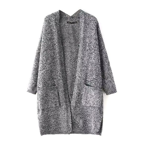 Plain Long Sleeve Open Front Laid Back Cardigan (£20) ❤ liked on Polyvore featuring tops, cardigans, outerwear, sweaters, long sleeve open front cardigan, long sleeve tops, open front tops, open front cardigan and long sleeve cardigan