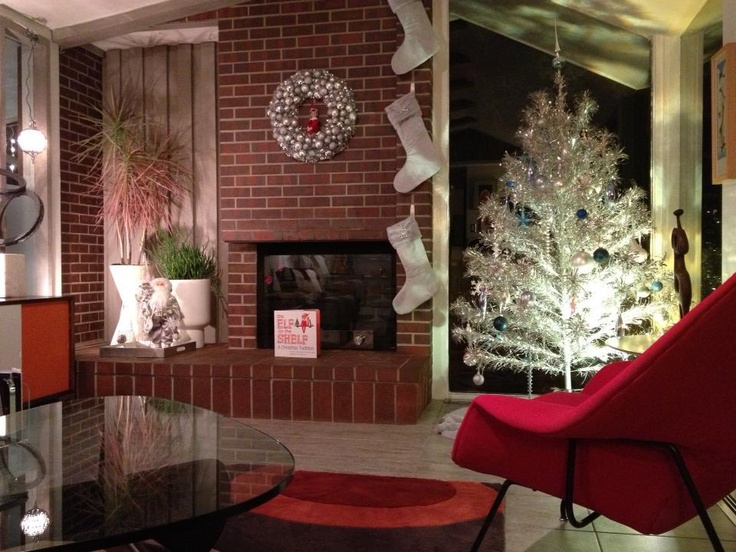 Red Womb Chair And The Silver Aluminum Tree Look Amazing Mid Century Modern Christmas