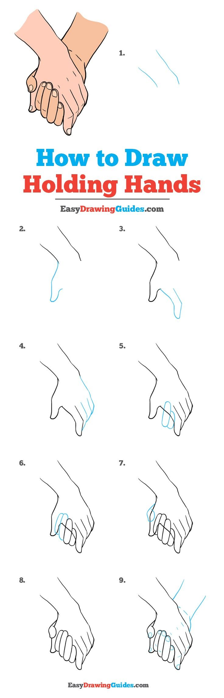 Learn How to Draw Holding Hands: Easy Step-by-Step Drawing Tutorial for Kids and Beginners. #Holding Hands #DrawingTutorial #EasyDrawing See the full tutorial at https://easydrawingguides.com/how-to-draw-holding-hands/.