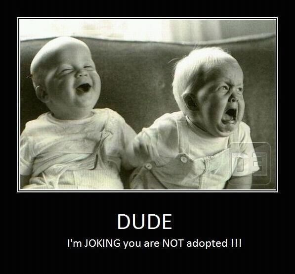 Dude, Im JOKING you are NOT adopted! haha goddessloyal: Twin, Laughing, Sisters, Funny Stuff, Baby Faces, Funny Baby, So Funny, Funnystuff, Kid